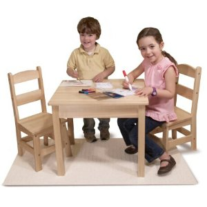Melissa Doug Solid Wood Table And 2 Chairs Set Light Finish Furniture For Playroom Dealmoon