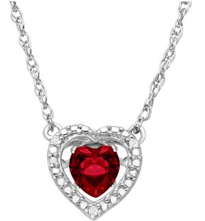 $291/2 ct Ruby Dancing Heart Necklace with Diamonds