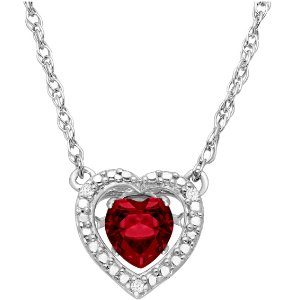 1/2 ct Ruby Dancing Heart Necklace with Diamonds