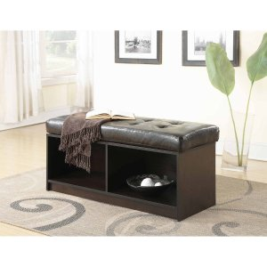Convenience Concepts Designs4Comfort Broadmoor Entryway Faux Leather Bench  Storage Ottoman