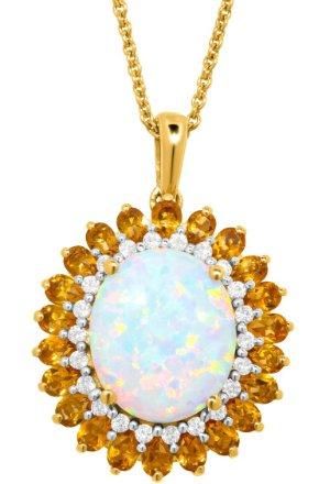 Opal, Citrine & White Sapphire Pendant
