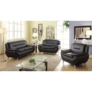 Prime Norton 3 Pc Black Faux Leather Modern Living Room Sofa Set Theyellowbook Wood Chair Design Ideas Theyellowbookinfo