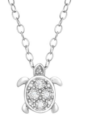 $24Teeny Tiny Turtle Pendant with Diamonds