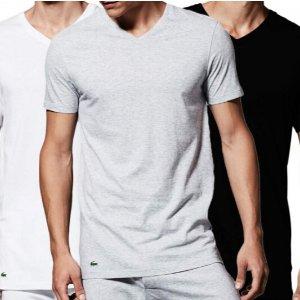 Lacoste Mens Essentials 3 Pack 100/% Cotton Regular Fit Crew Neck T-Shirts