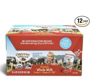 $13.1 免邮 宝宝爱喝的好牛奶Organic Valley 有机全脂牛奶12盒 6.75oz