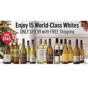 仅售$89.99 (价值$234.99) 过节的不二之选WSJwine 精选15瓶精选世界级葡萄酒