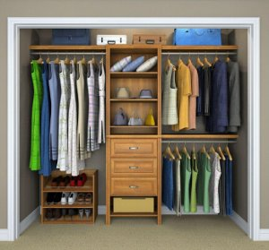 $300.30 ClosetMaid Impressions 5 Ft.   10 Ft. Walnut Premium Closet System  (8