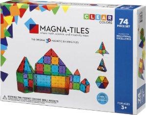 $59.47(原价$99.95)Magna-Tiles半透明彩色磁性建筑玩具74片装