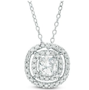 5.0mm Lab-Created White Sapphire Double Frame Pendant in Sterling Silver