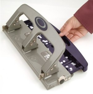 $10Officemate Deluxe Medium Duty 3-Hole Punch with Chip Drawer, Silver and Navy, 20-Sheet Capacity