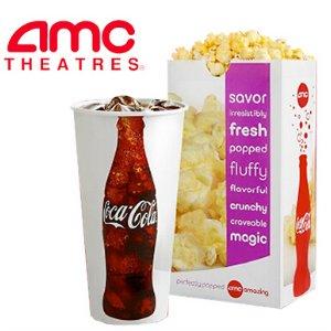 只需 $5AMC电影院 爆米花+汽水套餐,学生优惠