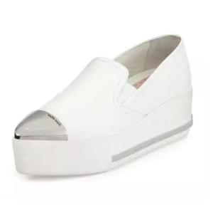 Miu Miu Metallic Cap-Toe Skate Sneaker, White