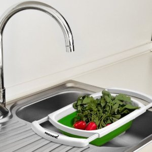 Additional 10% Off Procizion Kitchen Collapsible Colander Over The Sink  Strainer Expanding Mesh With Extending
