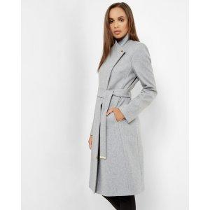 Long wrap coat - Gray Marl | Jackets & Coats