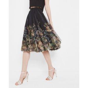 Gem Garden midi skirt - Black   Skirts