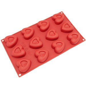 Freshware 12-Cavity Small Valentine Heart Silicone Mold for Muffin