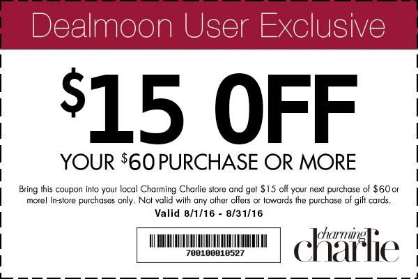 In-store coupon $15 Off Your Purchase of $60 or more - Dealmoon