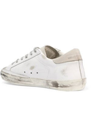Golden Goose Deluxe Brand | Super Star distressed suede-paneled leather sneakers