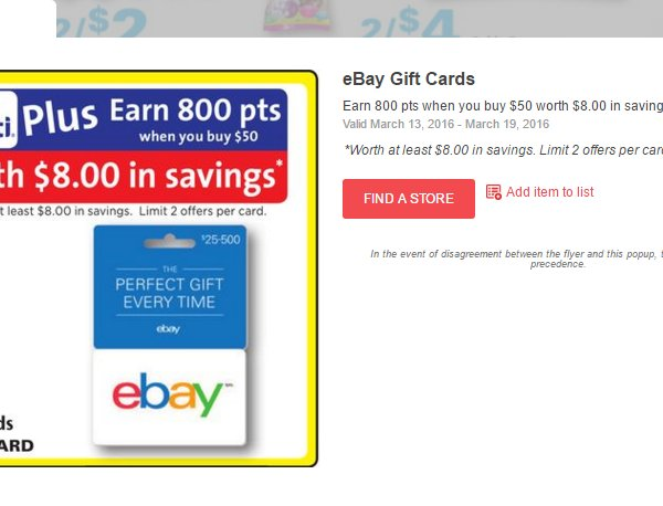 Buy 50 Ebay Giftcard Rite Aid Receive 800 Plenti Points Worth 8 Dealmoon