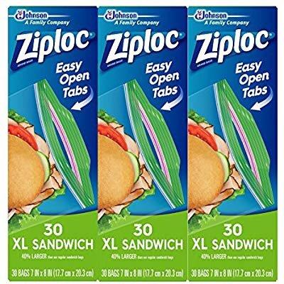 Ziploc 密实保鲜袋 加大三明治尺寸 30个x3包