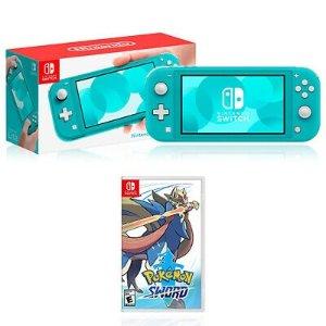 Nintendo Switch Lite Turquoise + Nintendo Pokemon Shield/Sword