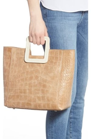 STAUD Shirley Croc Embossed Leather Handbag | Nordstrom