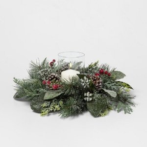 Candle Holder Pine Cone with Red Berry - Threshold™ : Target