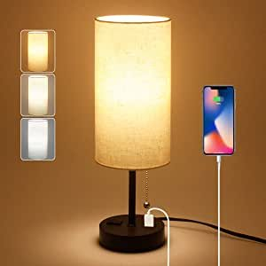 $14.99Dott Arts USB Bedside Table Lamp, Nightstand Lamp with Pull Chain