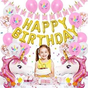 OLIVILO Unicorn Themed Birthday Party Decorations