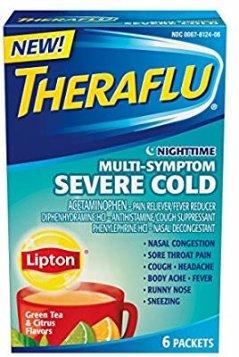 Amazon.com: Theraflu - NightTime Multi-Symptom Severe Cold, Green Tea & Citrus, 6 Packets: Health & Personal Care