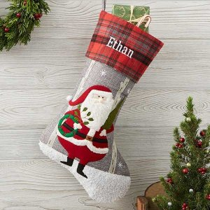 Santa Personalized Plaid Christmas Stocking - Christmas