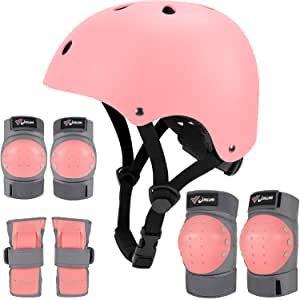 Joncom Kids Youth Bike Helmet, Toddler Helmet Adjustable Knee Pads Elbow Pads Wrist Guards Kids Protective Gear Set