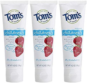Amazon.com : Tom's of Maine Natural Fluoride Free Children's Toothpaste, Silly Strawberry, 4.2 Ounce, 3 Count : Beauty