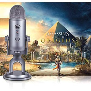 Yeti Cool Grey + Assassin's Creed Origins Streamer Bundle: Musical Instruments Blue Yeti