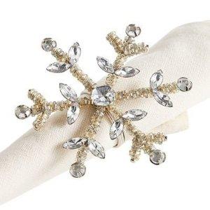 Beaded Silver Snowflake Napkin Ring   Pier 1 Imports