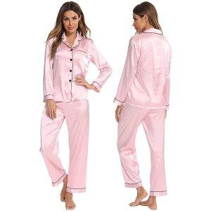 SWOMOG 丝质睡衣套装 柔软透气