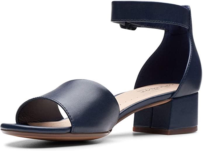 Amazon.com | Clarks 女士真皮凉鞋Women's Elisa Dedra Heeled Sandal | Heeled Sandals