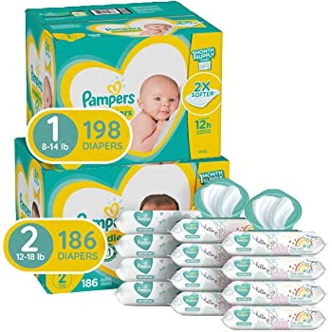 Instant $25 OffPampers Baby Diapers and Wipes Starter Kit (2 Month Supply)