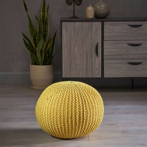 Abena Knitted Cotton Pouf Yellow - Christopher Knight Home : Target