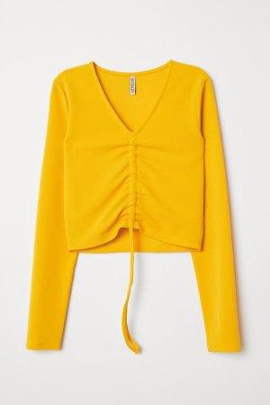 Top with Drawstring - Dark yellow - Ladies | H&M US