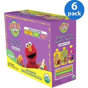 Earth's Best Organic Baby Food Sesame Street Organic Fruit Yogurt Smoothie Variety Pack, 4.2 oz, 6 Pack - Walmart.com