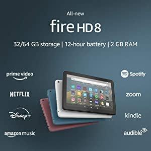"""$44.99起 四色可选开抢:全新 Fire HD 8 平板 8""""高清屏+32GB起步内存+12h使用时长"""
