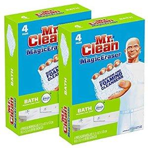 Mr. Clean Magic Eraser Bath, Cleaning Pads with Durafoam, Meadows & Rain, 8 Count