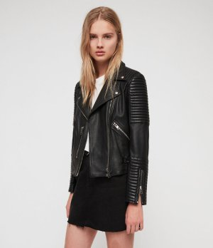 ALLSAINTS US: Womens Estella Leather Biker Jacket (black)