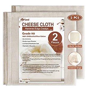 $3.42,4片装$5.39eFond 可重复使用全棉滤布 24x24 2片 做豆奶、芝士必备