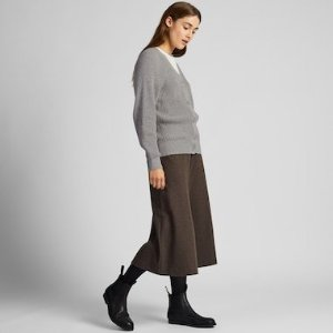 WOMEN COTTON CASHMERE RIBBED RELAXED CARDIGAN | UNIQLO US