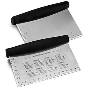 Amazon.com: Metal Griddle Scraper Chopper, HaSteeL Stainless Steel Dough Bench Scraper Pastry Cutter with Measuring Marks, Multi-purpose Kitchen Tool for Flat Top Grilling/Baking/Cooking, Dishwasher Safe (2-Pack): Kitchen & Dining