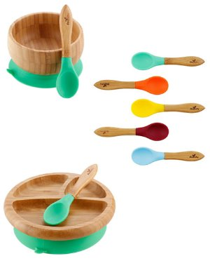 Avanchy Baby's Bamboo Suction Bowl, Plate & Spoon Set   Neiman Marcus