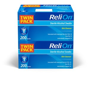 ReliOn Medium Alcohol Prep Pads, 2-Ply, 200 Swabs Per Box (400 Total Count)
