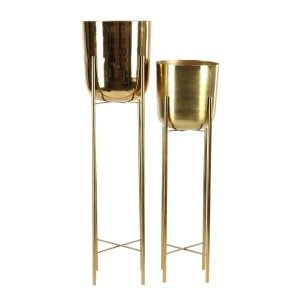 Shop Set of 2 Contemporary 39 and 46 Inch Gold Iron Planters with Stands - On Sale - Free Shipping Today - Overstock.com - 20445304